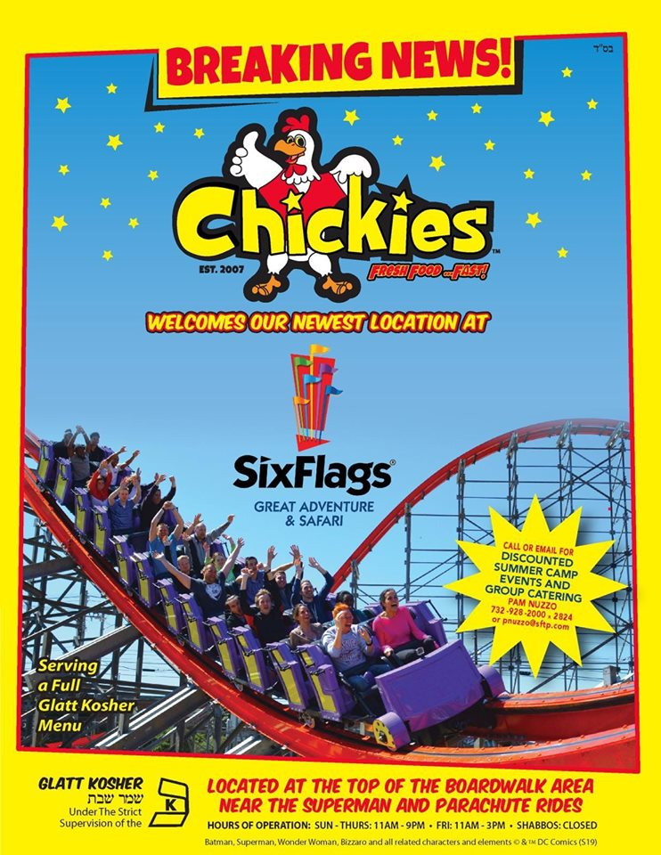 Chickies Is Coming To Six Flags Great Adventure In New Jersey Great Kosher Restaurants